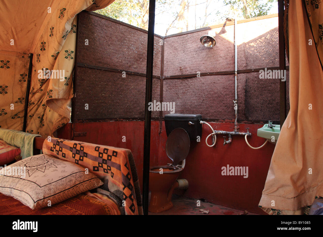 Bathroom inside a jungle tent Goa India & Bathroom inside a jungle tent Goa India Stock Photo Royalty Free ...