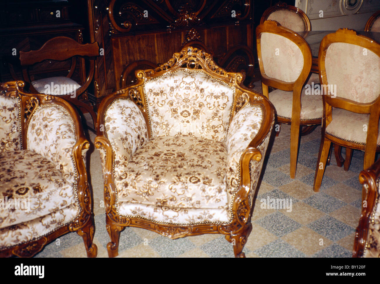 Stock Photo   Tripoli Lebanon Souk Al Haraj Furniture Shop Chairs On Sale. Tripoli Lebanon Souk Al Haraj Furniture Shop Chairs On Sale Stock