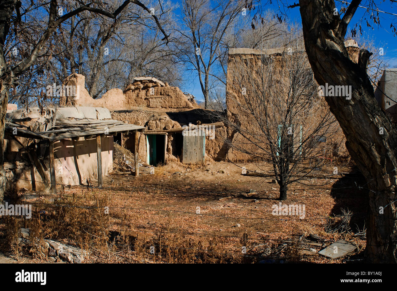 Old Adobe Ranch Buildings In Taos New Mexico Stock Photo