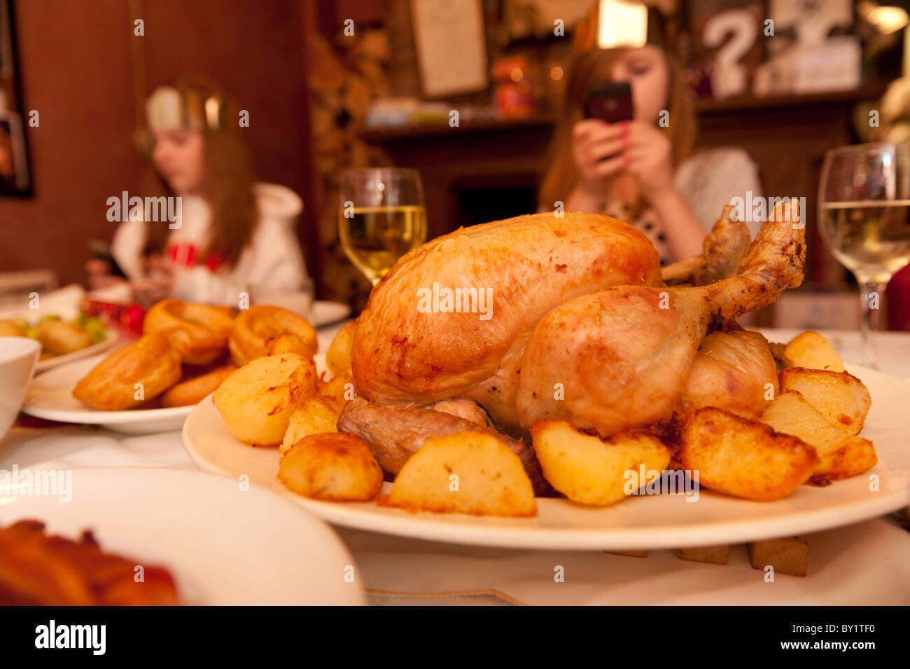 Roast chicken and vegetables - A traditional British family ...