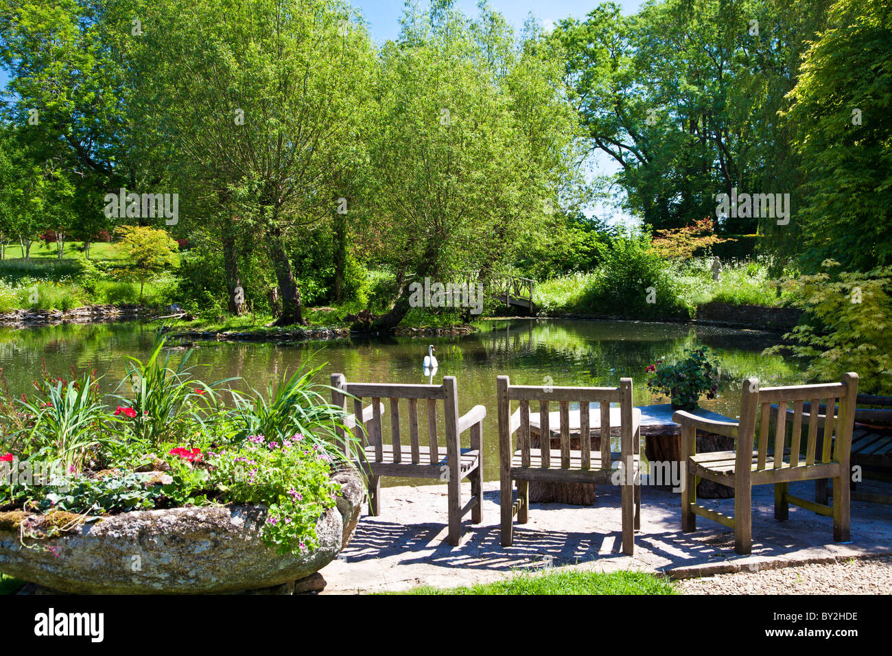 A large ornamental pond or small lake in an english for Ornamental pond