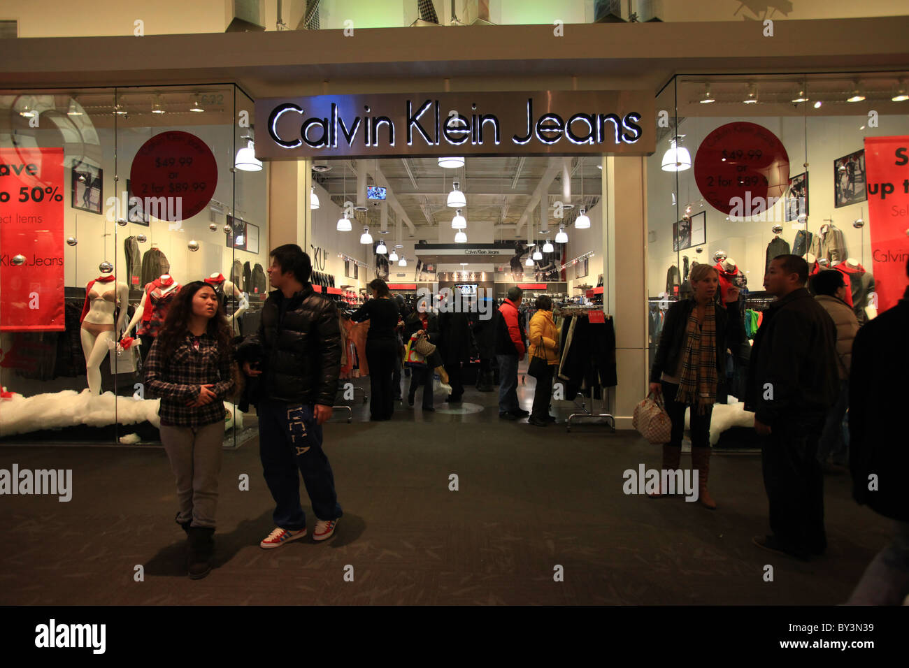 calvin klein jeans outlet store in vaughan mills mall in toronto stock photo royalty free image. Black Bedroom Furniture Sets. Home Design Ideas
