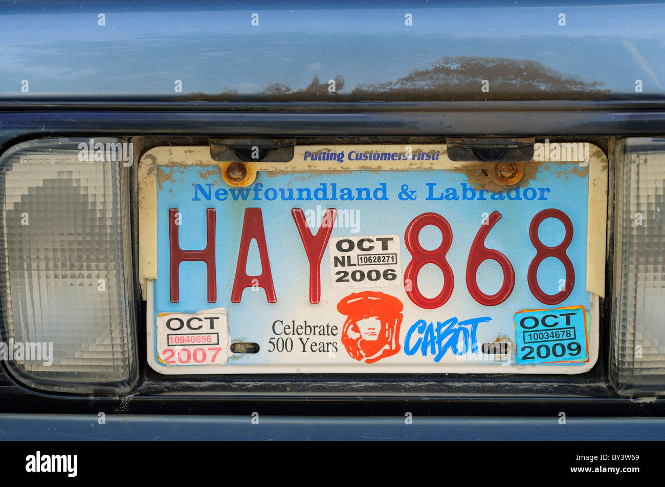 Rear Licence Plate On An Old Car In Newfoundland Canada Stock Photo ...