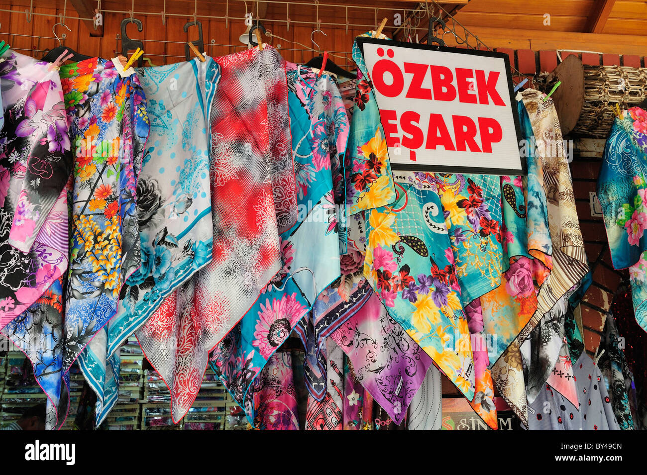 Scarf shop, bazaar, Urfa, Turkey 10092336805 Stock Photo, Royalty ...