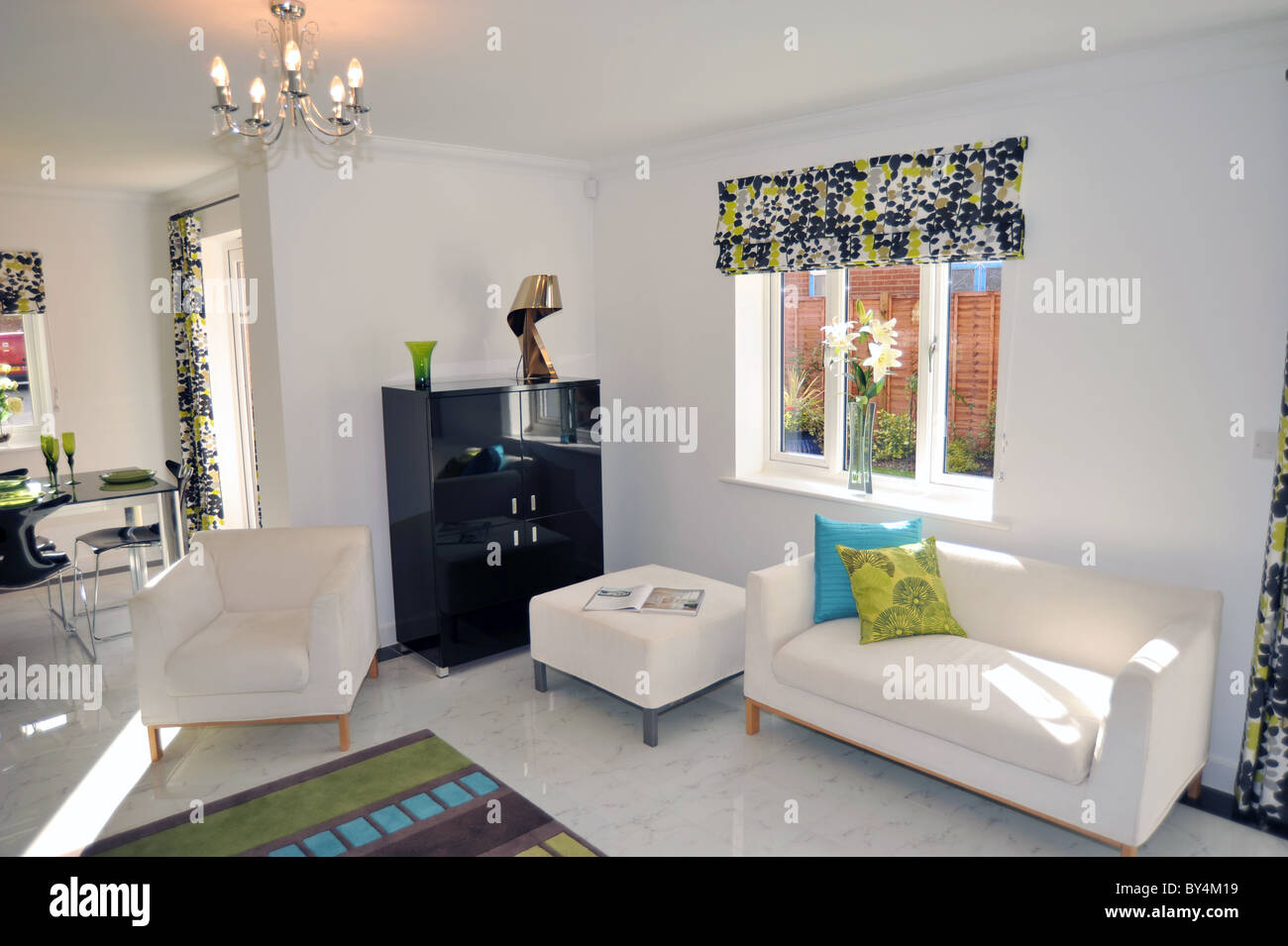New Show Home Lounge Interior UK Stock Photo Royalty Free Image   Show Homes  Interiors Uk
