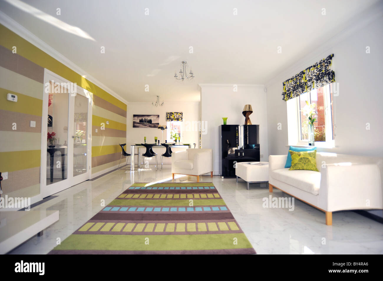 Uk Show Home Lounge Interior Stock Photo Royalty Free