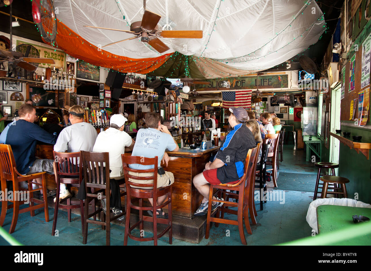 interior of the green parrot bar in key west florida usa. Black Bedroom Furniture Sets. Home Design Ideas