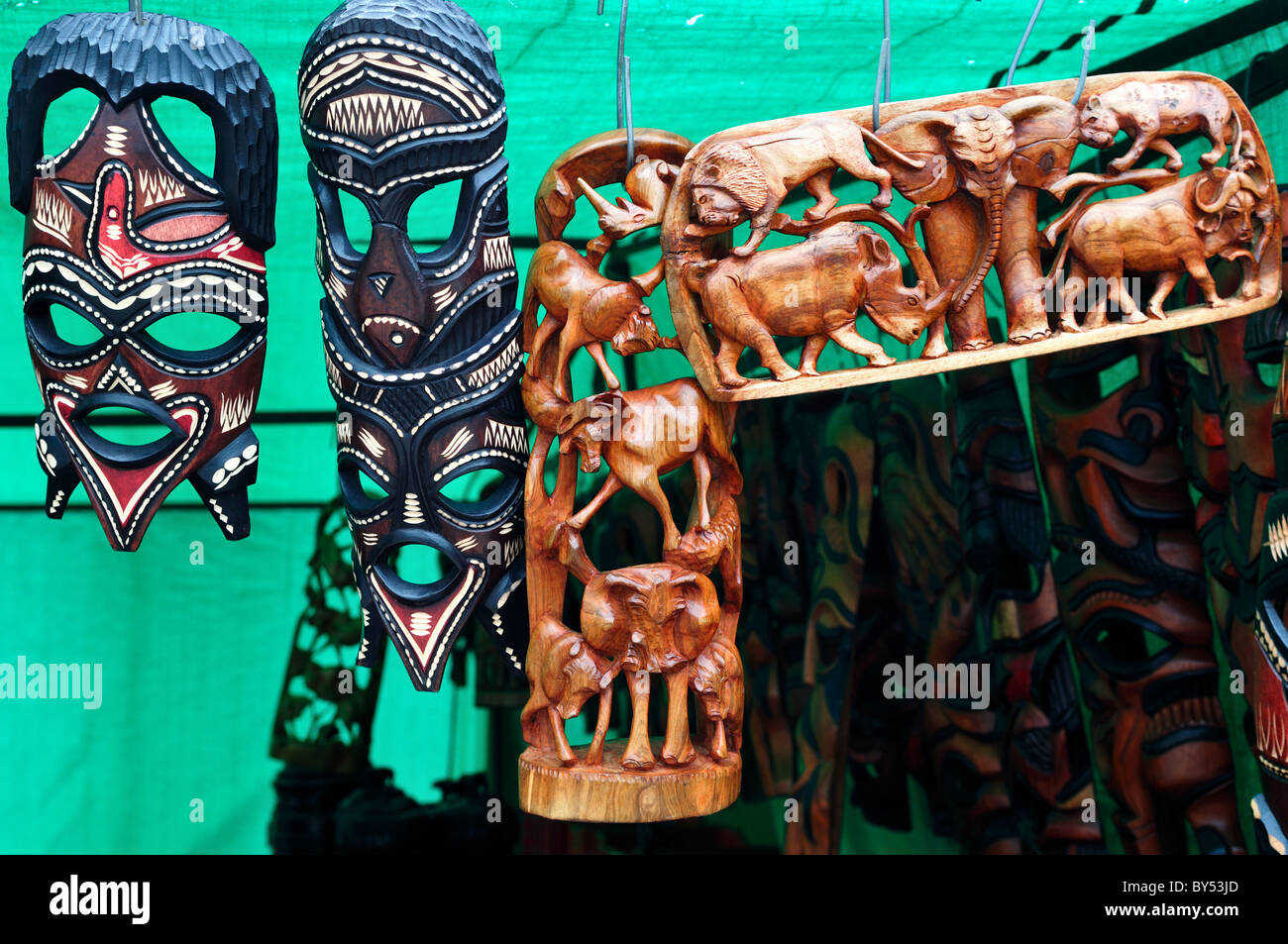 Wood carvings for sale as souvenirs at the market cape