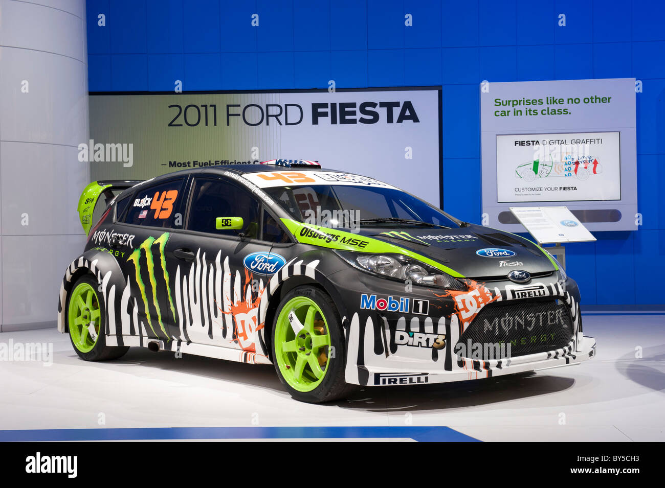 Ken block s ford fiesta rally car at the 2011 north american international auto show in detroit
