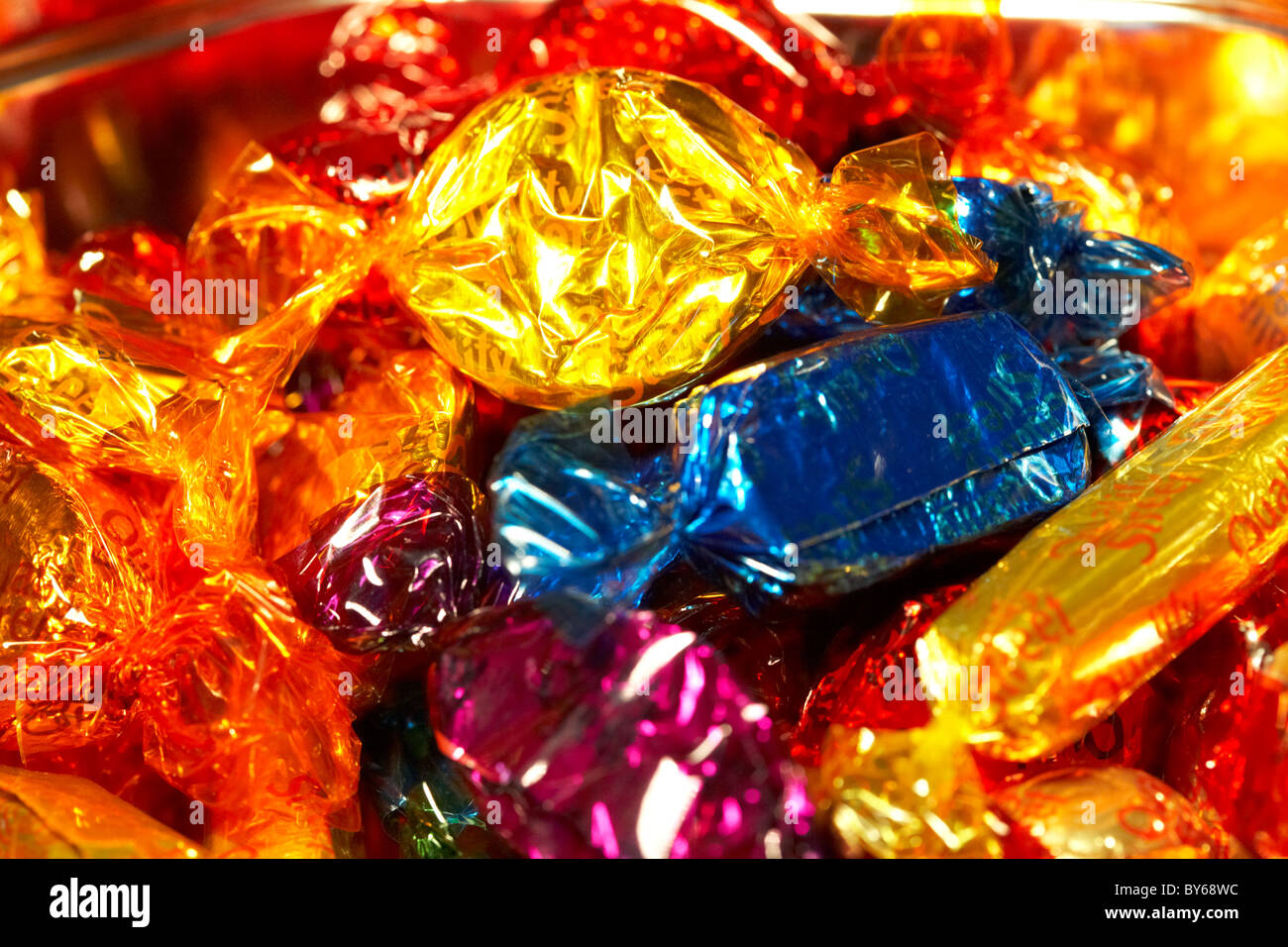 tin selection of wrapped up quality street chocolate sweets in ...
