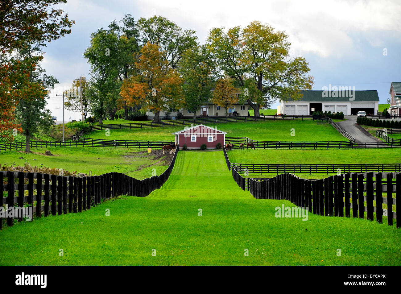 a horse ranch in upstate new york stock photo royalty