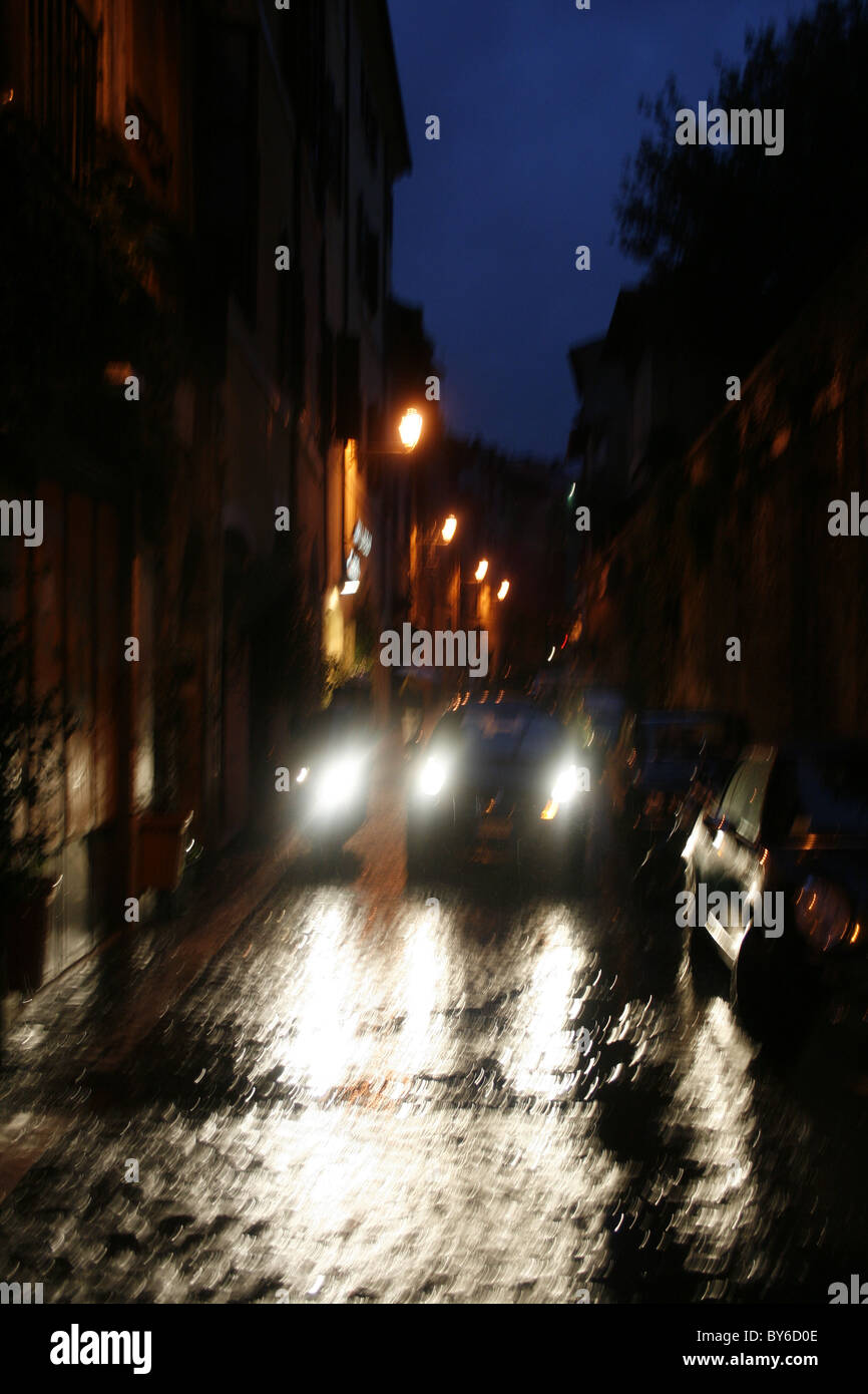 Fast Car In Rain In Trastevere District Rome Stock Photo Royalty - Fast car tra