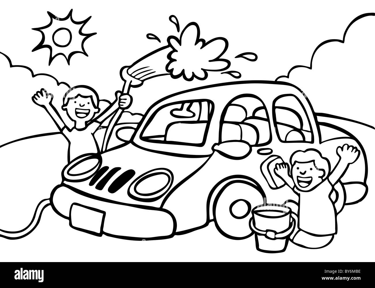 cartoon image of two kids washing a car black   white Car Vector Art Car Icon Vector