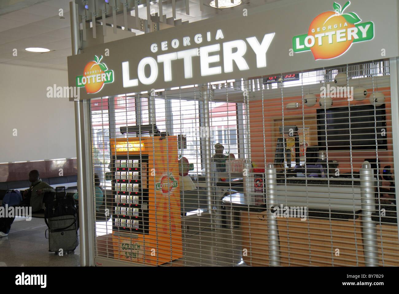 Atlanta georgia hartsfield jackson atlanta international airport concession georgia lottery gambling grille curtain stock photo