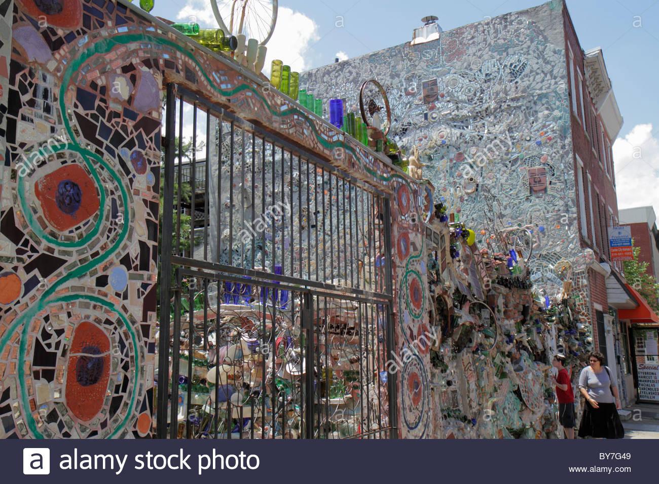 fence art installation. philadelphia pennsylvania south philly street magic gardens mosaic isaiah zagar art artist installation fence stock