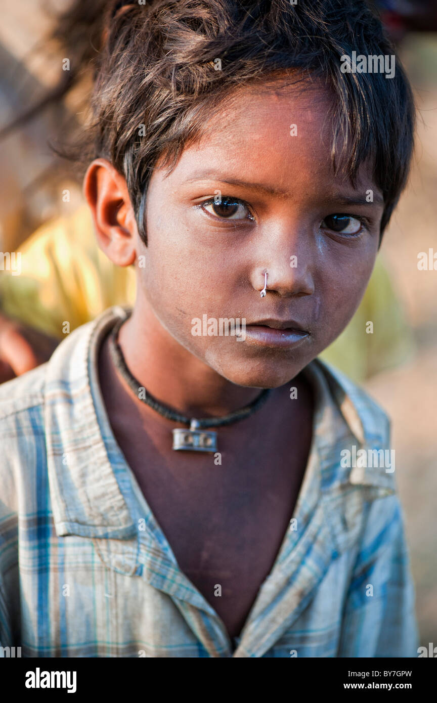 Portrait of a young Indian boy with nose ring, Bangalore, India ...