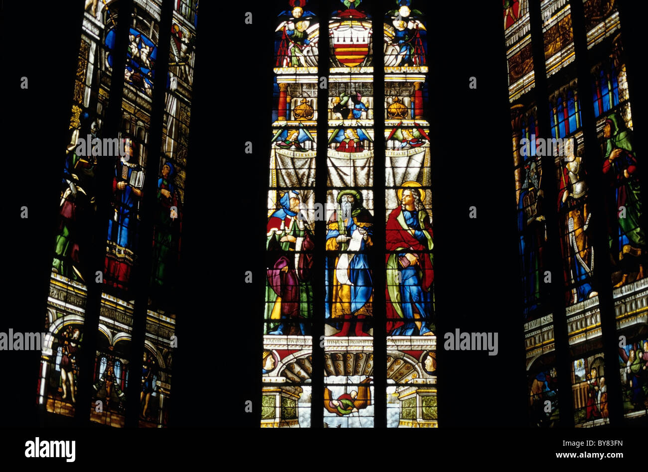 Renaissance Stained Glass Window In The Auch Cathedral France
