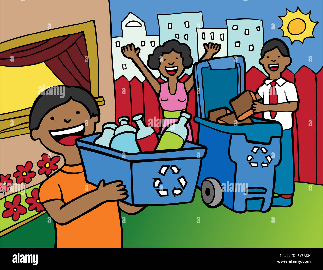 Cartoon image of a family having fun recycling at home Stock Photo ...