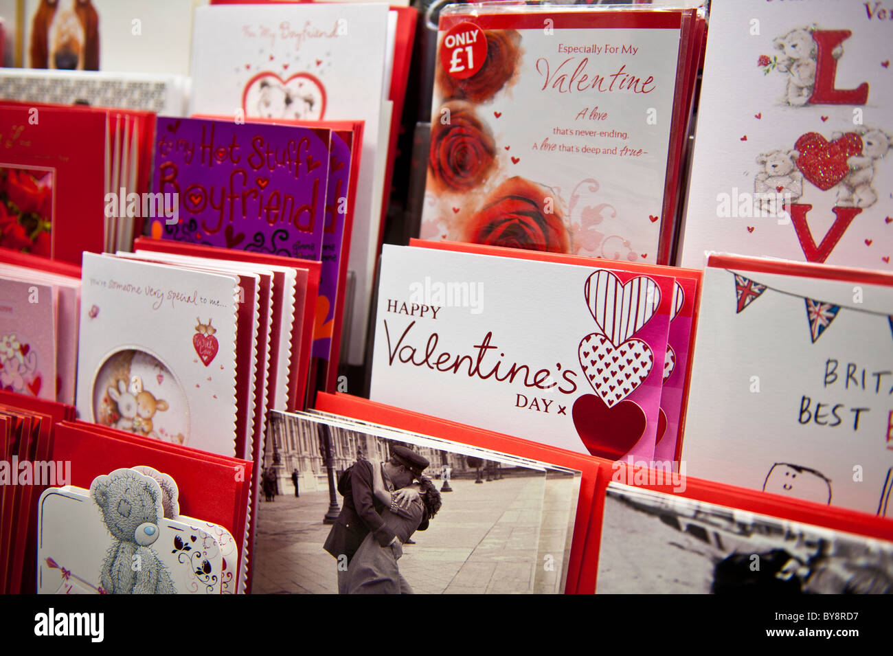 Racks of valentine day cards on sale at a branch of W H Smith UK – Valentines Cards Uk