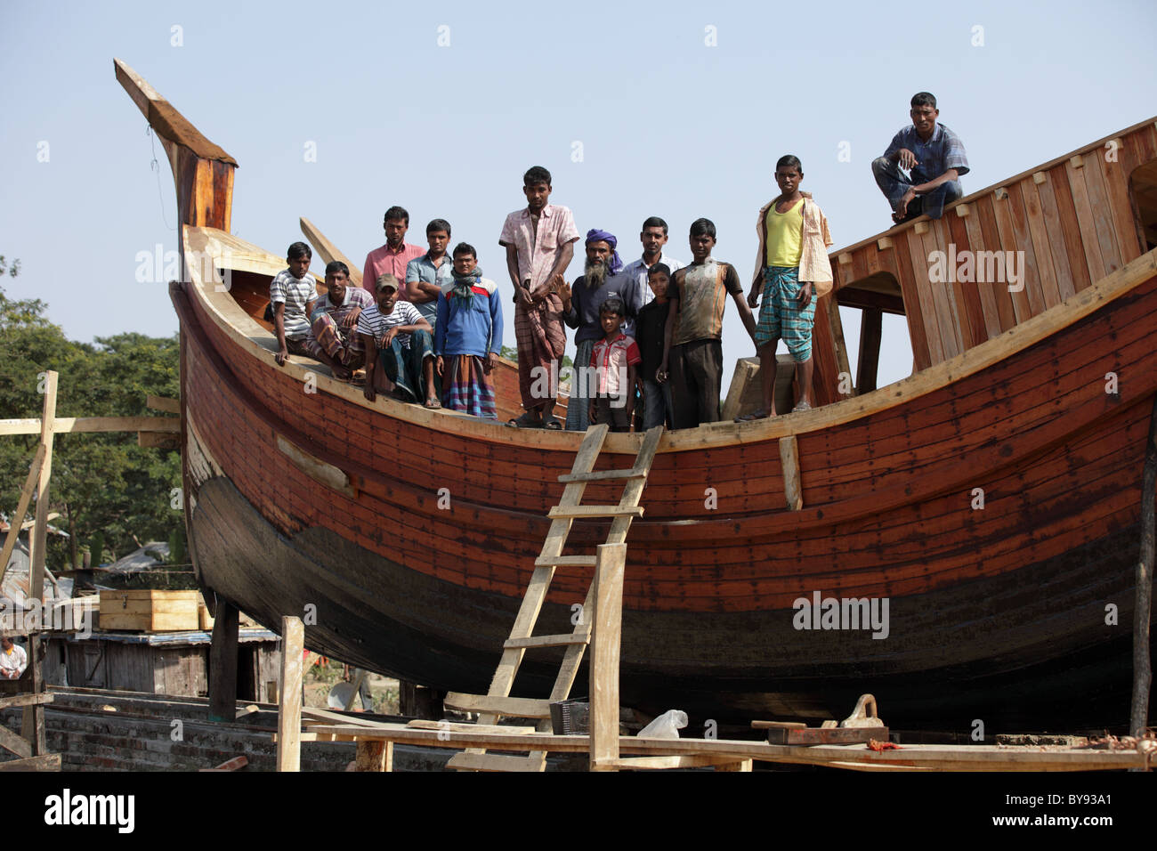 The wooden boat builders of bangladesh asia stock photo