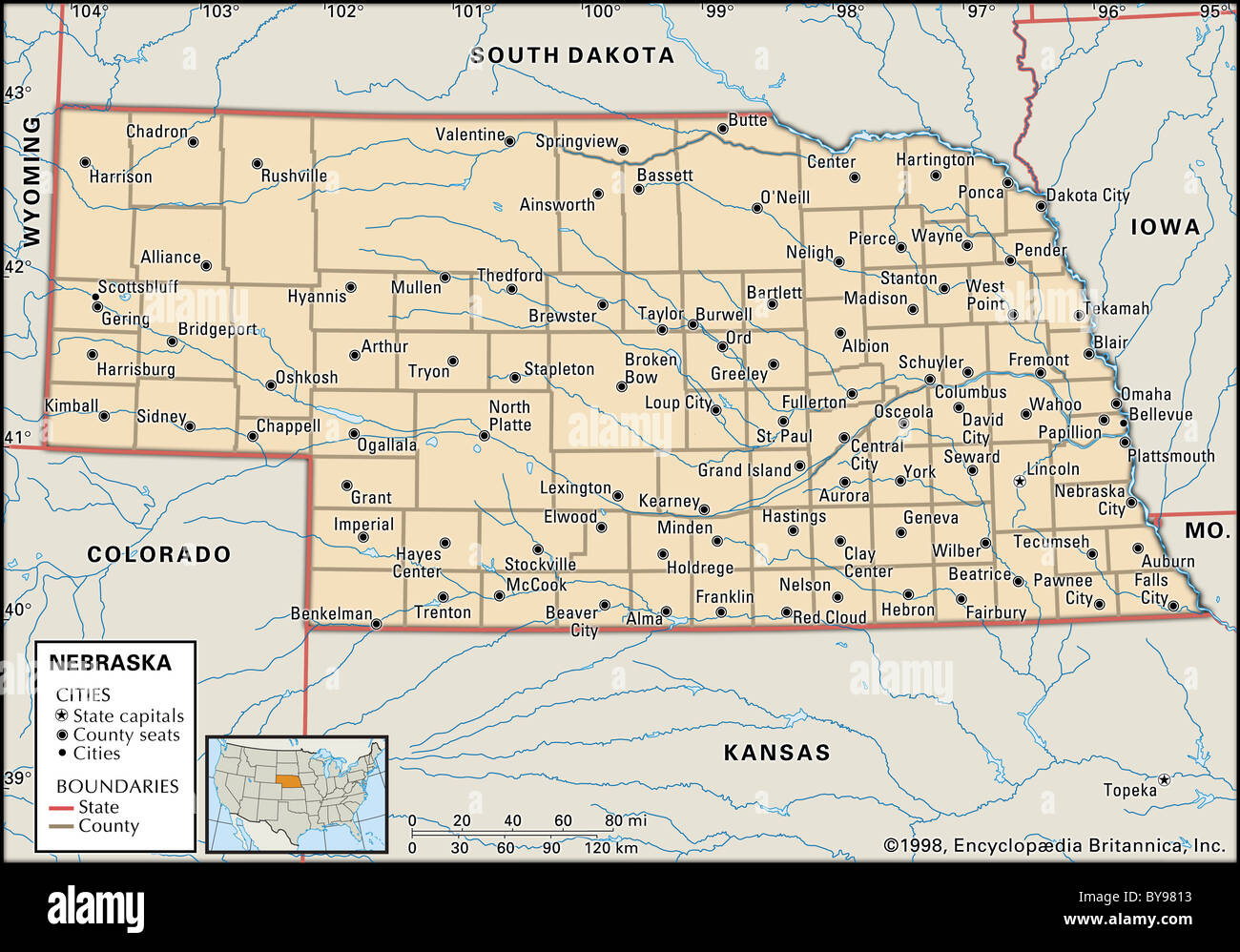 map of nebraska. map of nebraska stock photo royalty free image   alamy