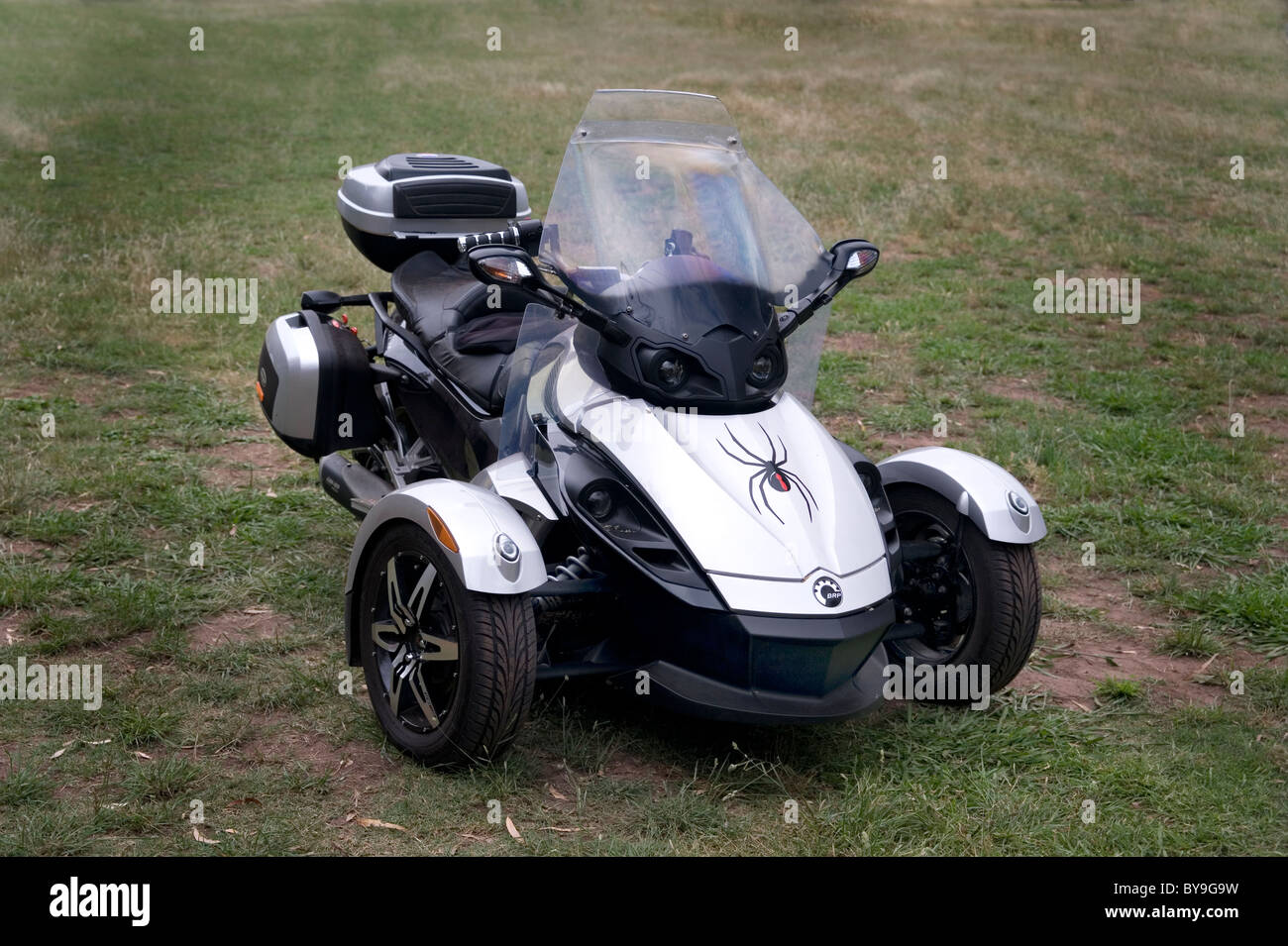 Brp can am spyder roadster three wheeled vehicle stock image