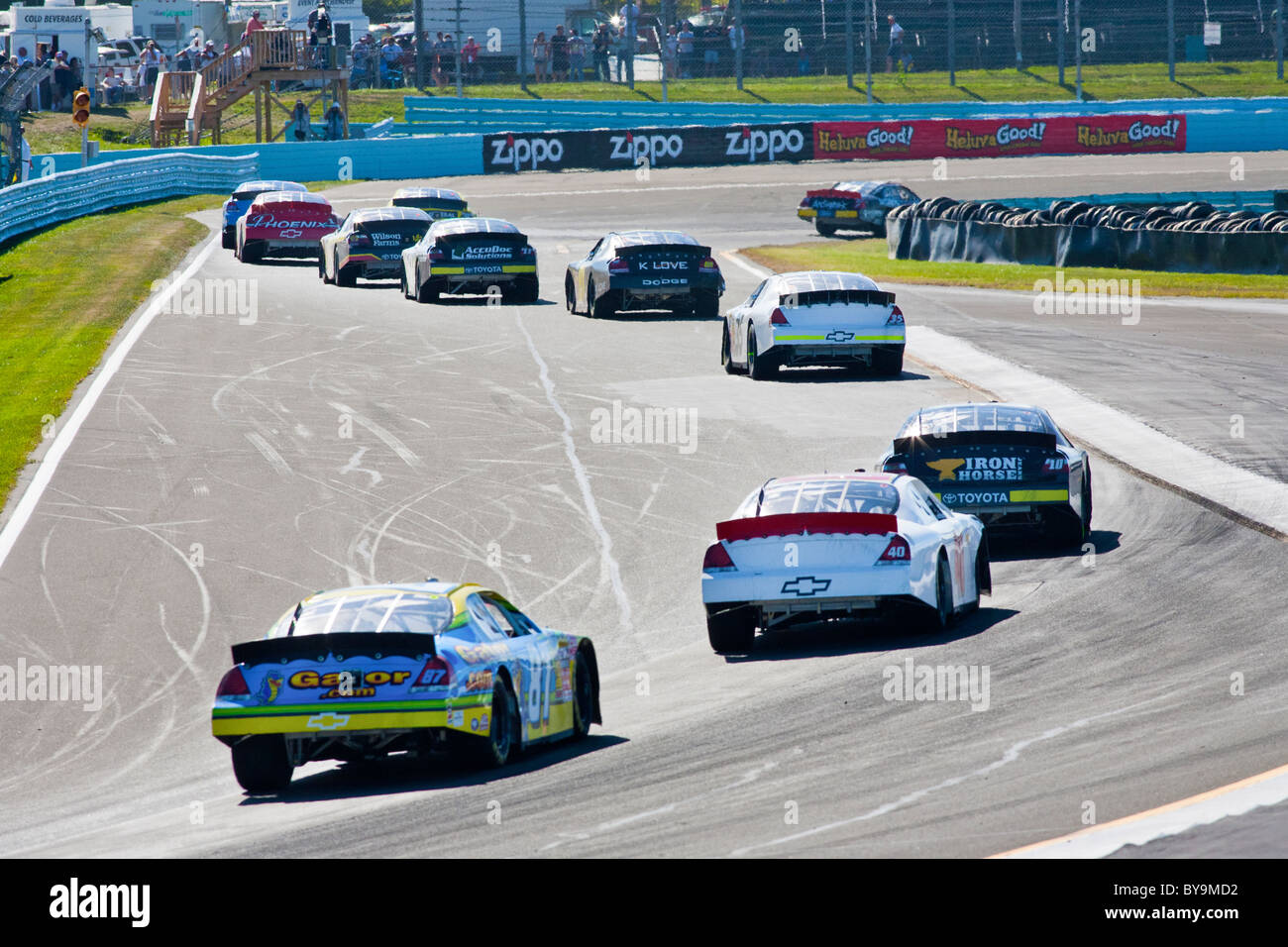 Nascar Race Cars Speeding On Race Track Stock Photo Royalty Free