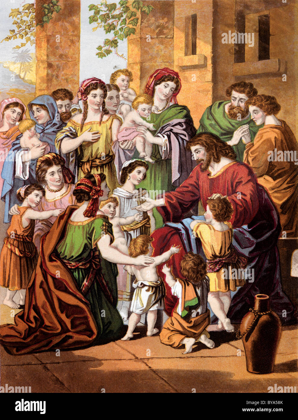 bible stories illustration of jesus christ blessing the little