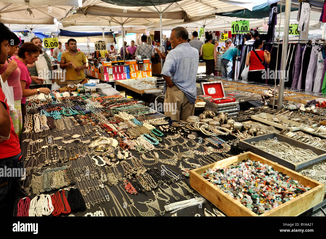 marketstall with jewelry on a weekly market rome lazio italy stock photo 34033497 alamy. Black Bedroom Furniture Sets. Home Design Ideas