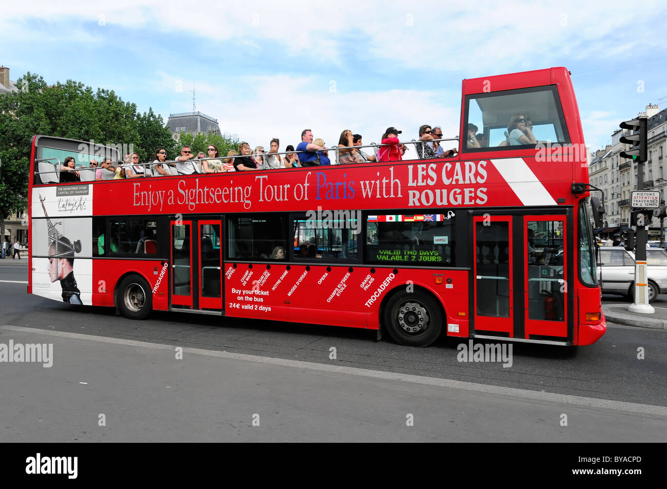 sightseeing tour by bus open top tour bus paris france europe stock photo royalty free. Black Bedroom Furniture Sets. Home Design Ideas