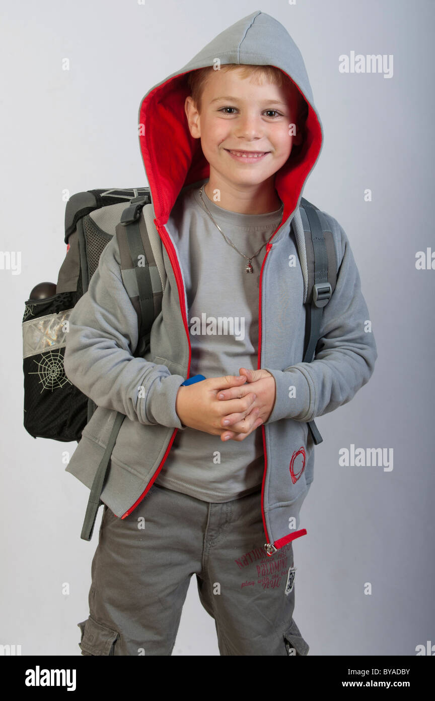 School bag for year 7 -  6 Year Old Boy With A School Bag Wearing A Hooded Sweatshirt First Grade School
