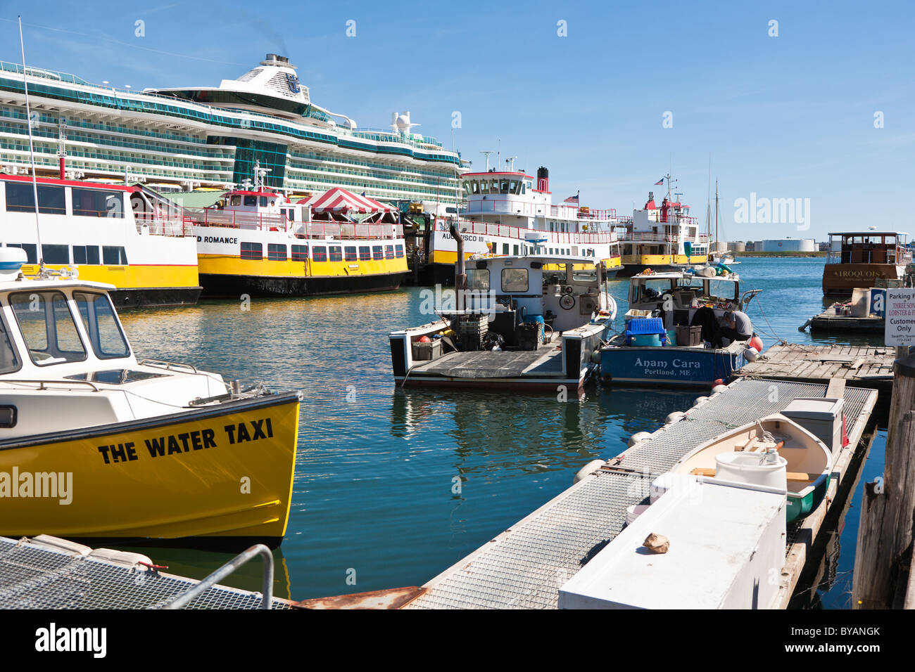 Water Taxis Docked Next To Royal Caribbean Cruise Ship In Casco - Portland maine cruise ship terminal