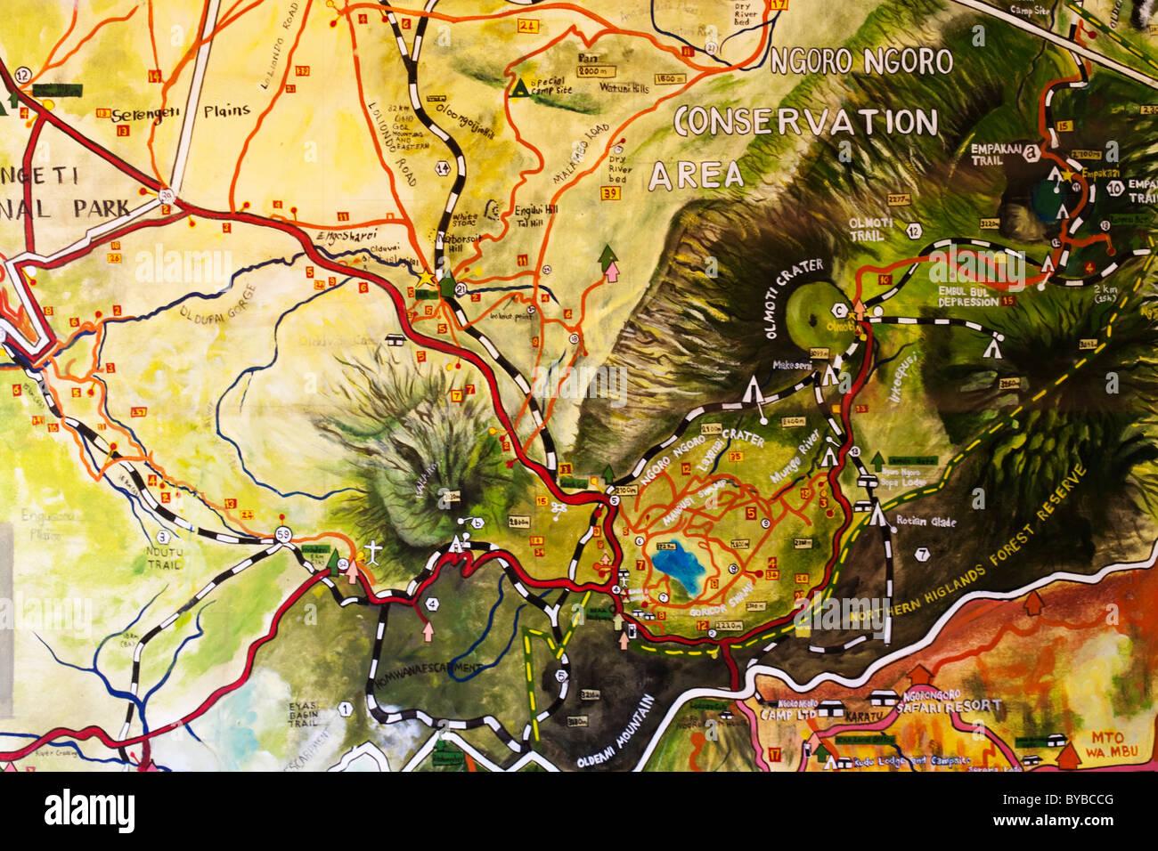 hand painted map of ngorongoro conservation area arusha