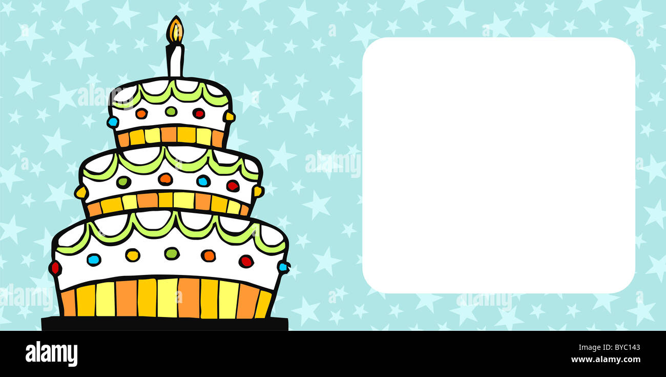 Invitation card with white birthday cake on light blue background invitation card with white birthday cake on light blue background with stars stopboris Gallery