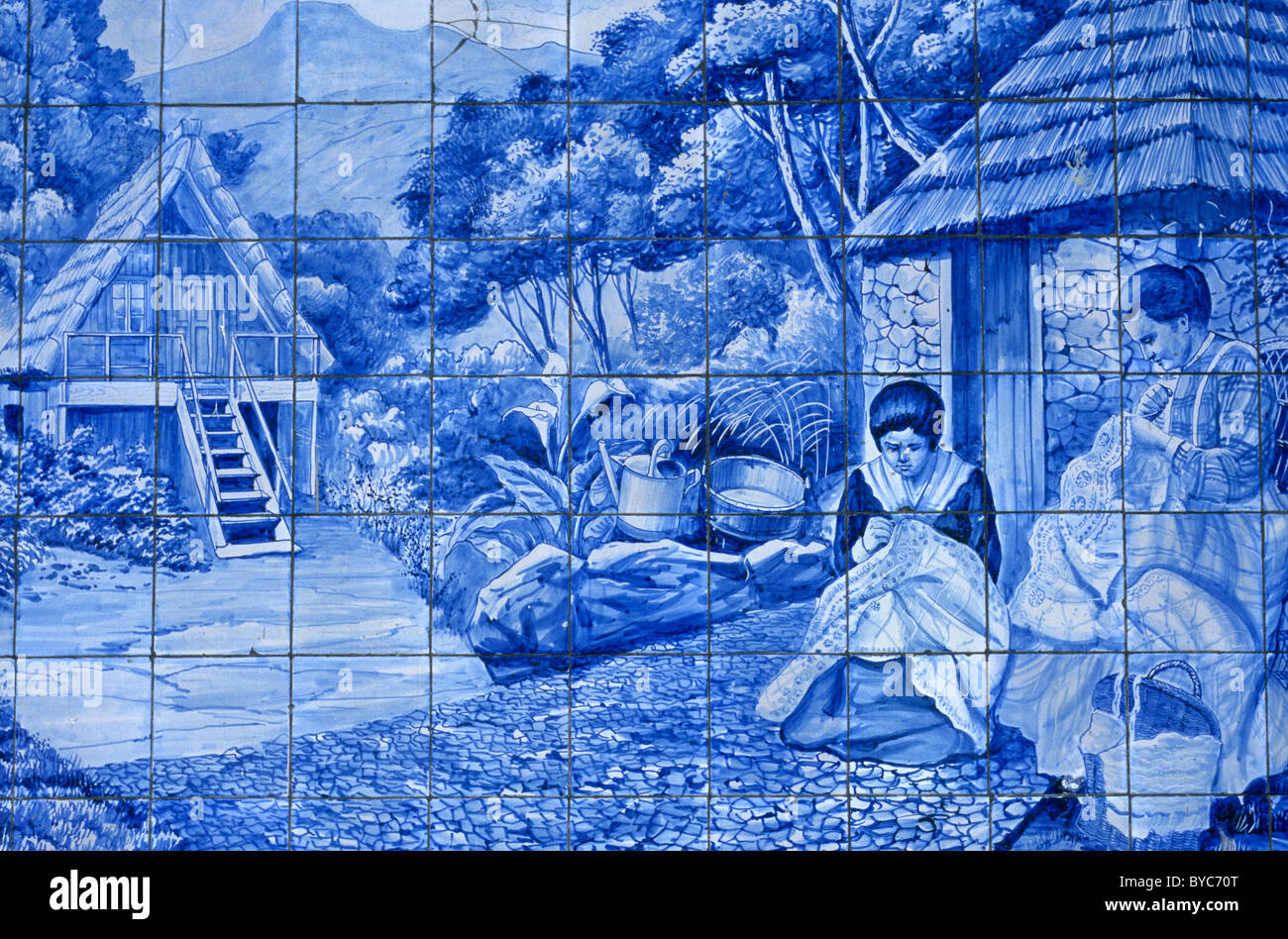 Detail of 20th century tiles azulejos depicting various madeiran detail of 20th century tiles azulejos depicting various madeiran scenes displayed on the exterior of funchals toyota showroom shiifo