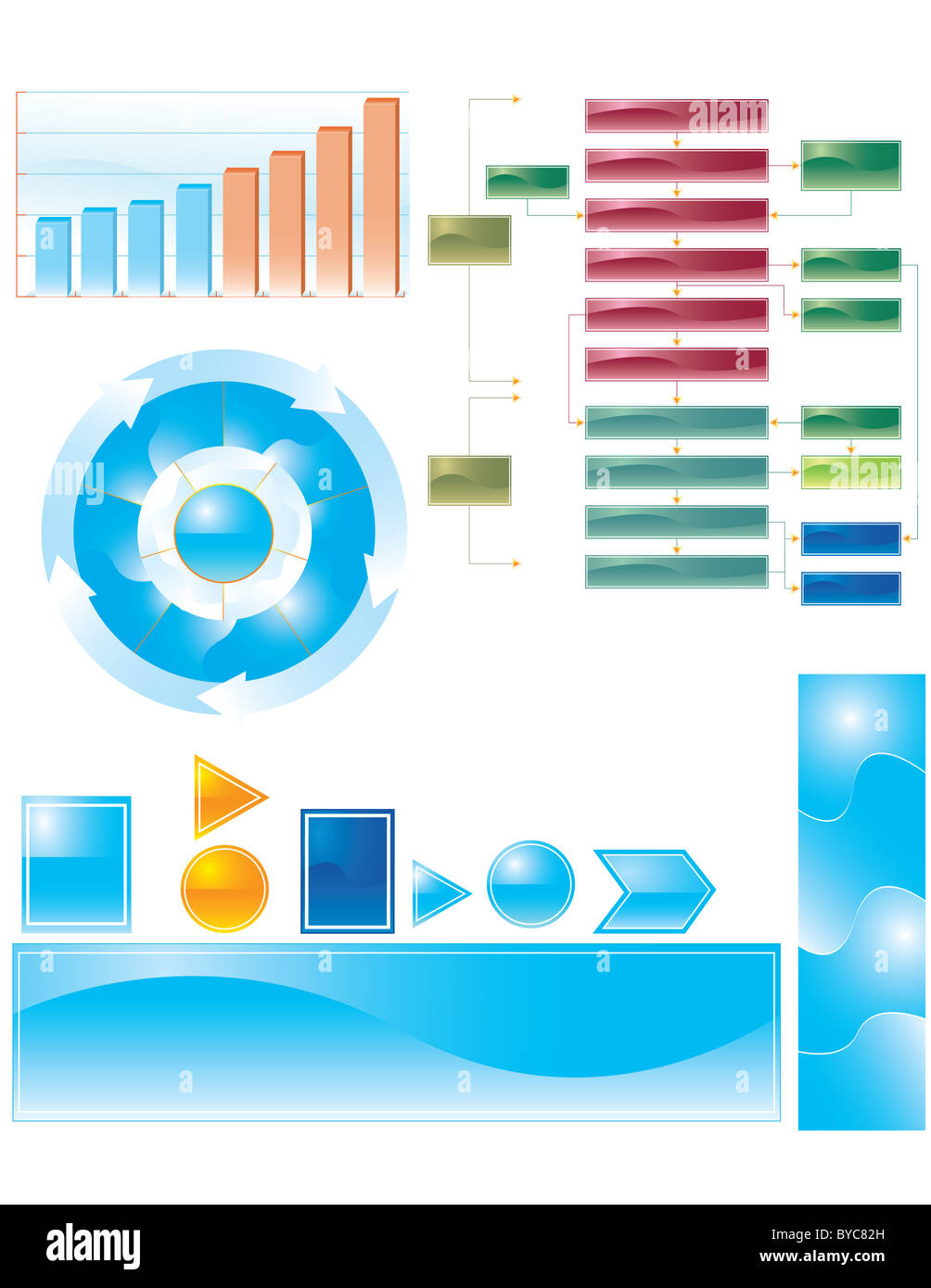 Set of multiple 3d business graphs and charts stock photo royalty set of multiple 3d business graphs and charts geenschuldenfo Image collections