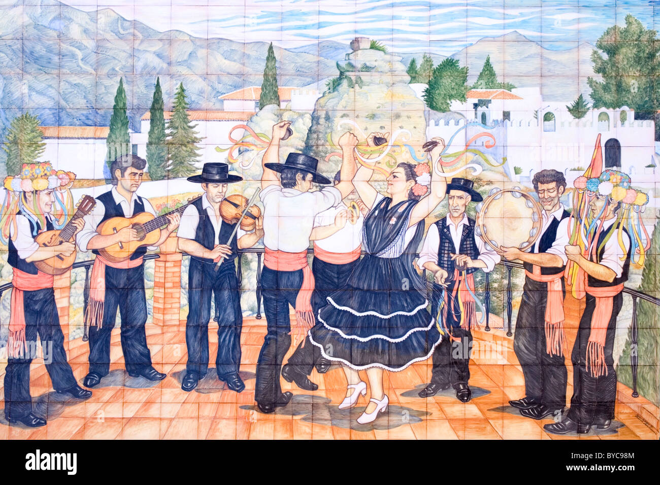 Comares malaga province andalucia spain ceramic tiles comares malaga province andalucia spain ceramic tiles depicting the verdiales dancers and dailygadgetfo Choice Image