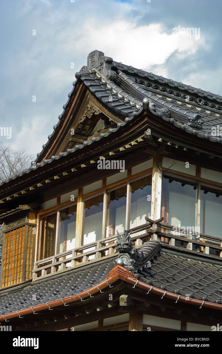 Roof Detail Of An Old Fashioned Japanese Style House Along The Matsushima  Promenade, Miyagi Prefecture, Japan, Asia