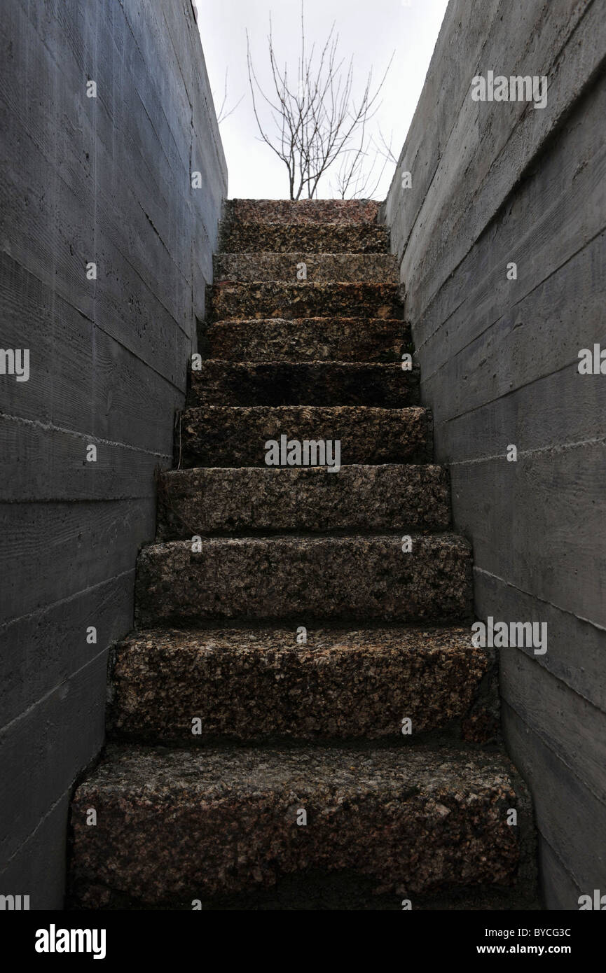 Stone Stair Steps And Concrete Walls