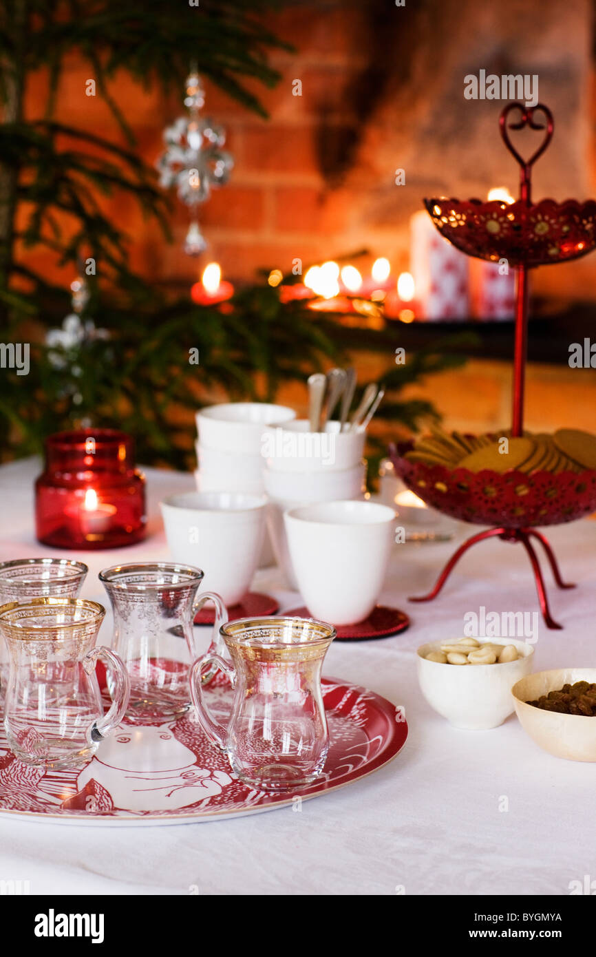 Table prepared for Christmas dinner Stock Photo, Royalty Free ...
