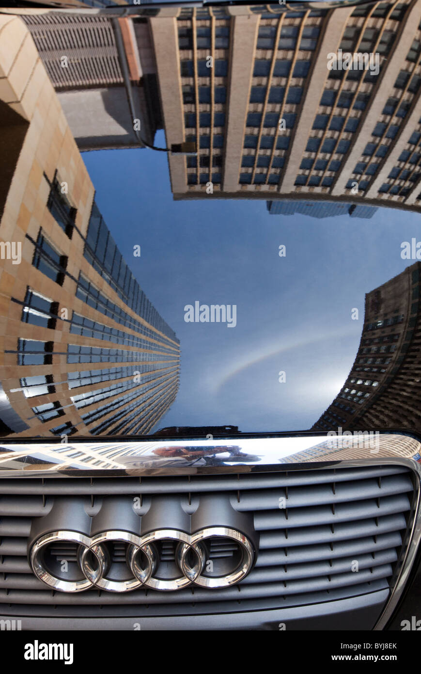 Usa Minnesota Minneapolis Reflection Of Office Building
