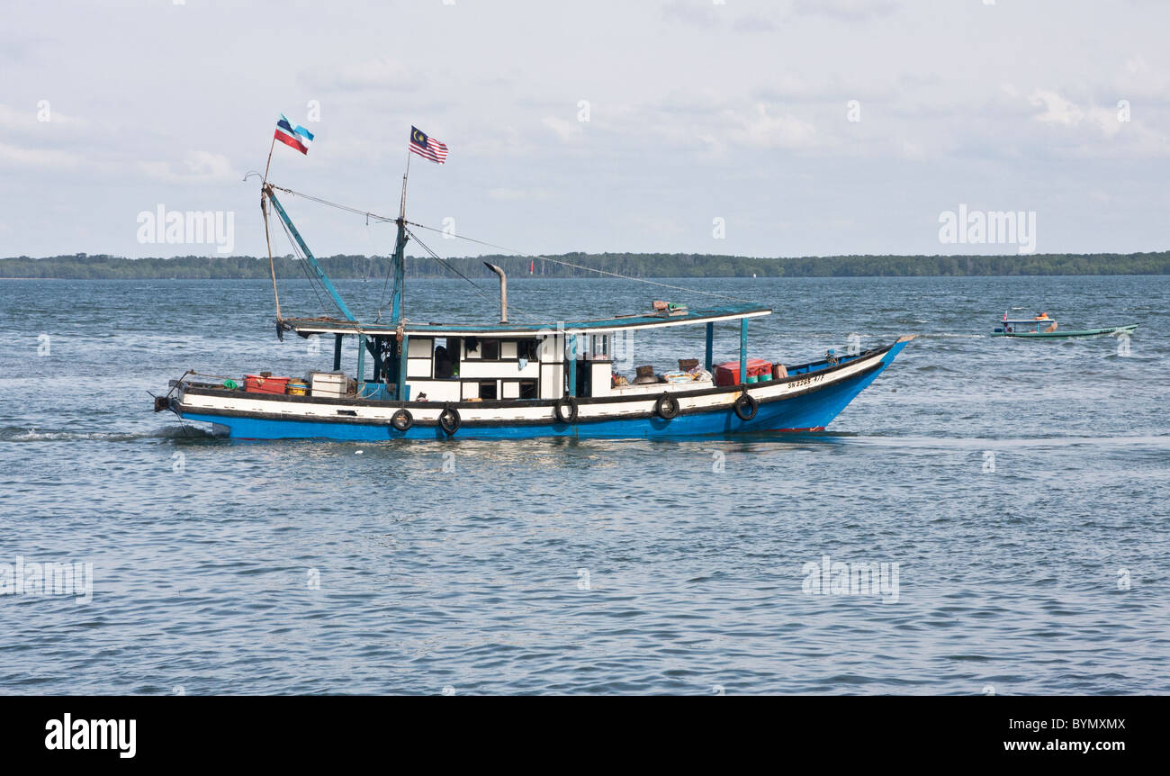 fishing vessel sandakan sabah borneo on sulu sea stock photo