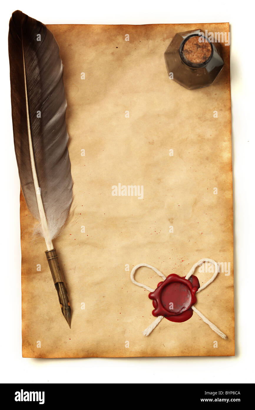 Blank paper with wax seal, quill & ink Stock Photo ...