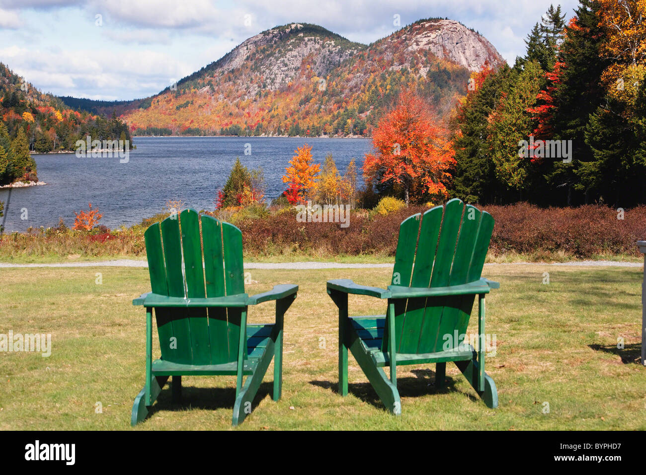 Fall Scenic With Adirondack Chairs At Jordan Pond, Acadia National Park,  Maine