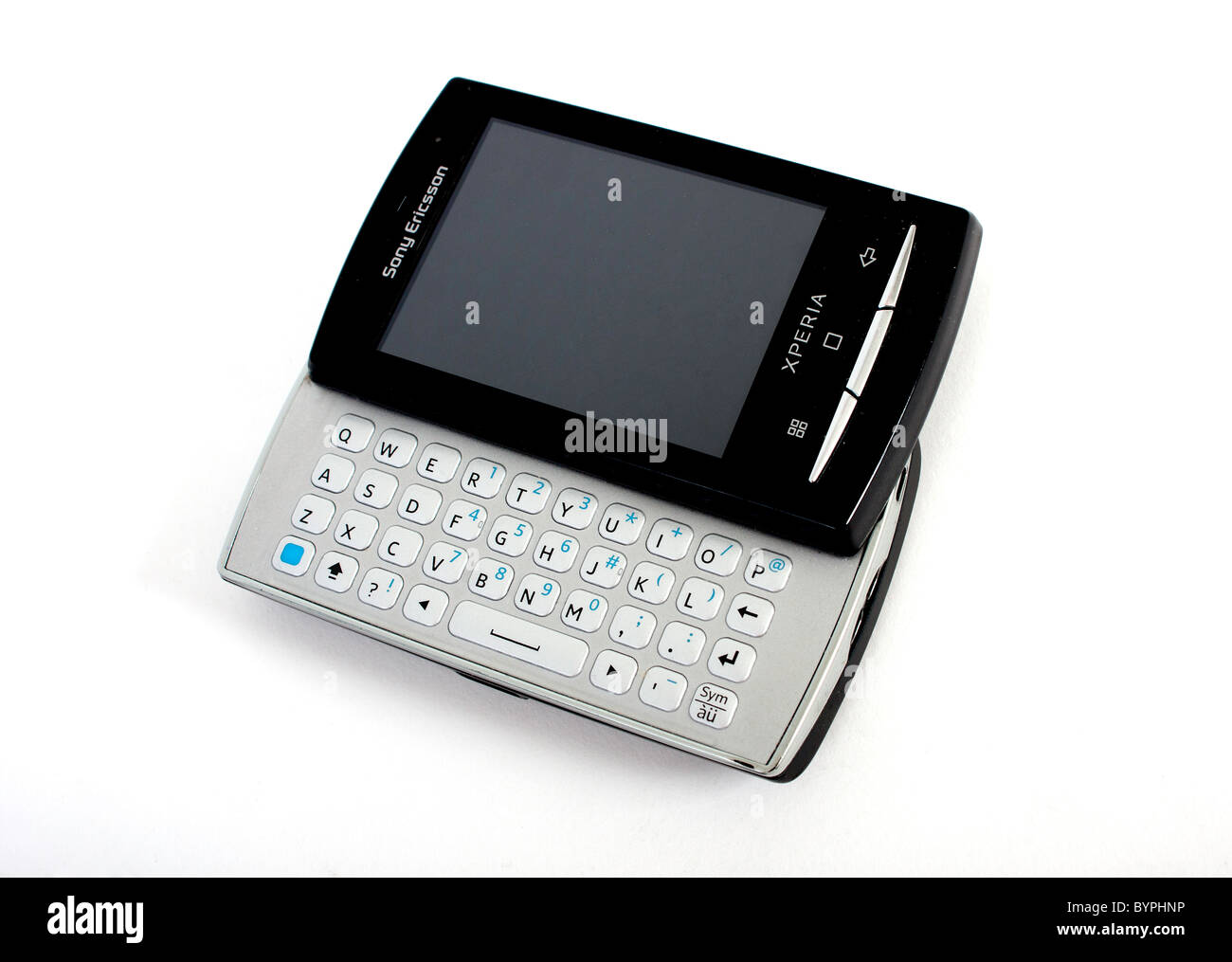 sony ericsson slide phone. stock photo - the new sony ericsson xperia mini pro mobile phone with full slide out qwerty keyboard; displaying a blank screen