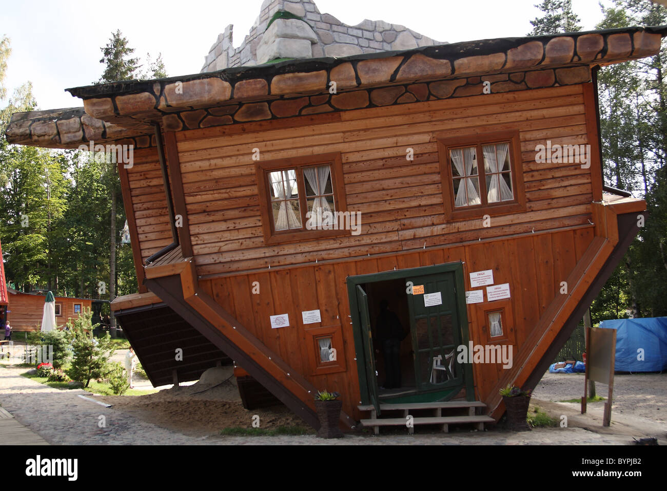 Upside down house in open-air museum in Szymbark, Kashubia, Poland