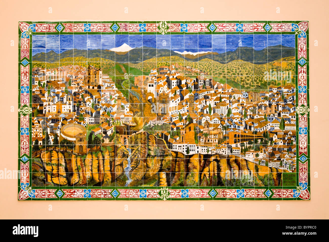 spanish terracotta  terra cotta tile  tiles  ceramics  ceramic map ofronda city on a wall in ronda spain. spanish terracotta  terra cotta tile  tiles  ceramics  ceramic