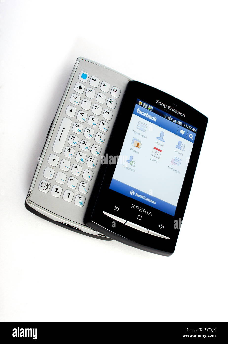 sony ericsson slide phone. stock photo - the new sony ericsson xperia mini pro mobile phone with full slide out qwerty keyboard; displaying google androids facebook
