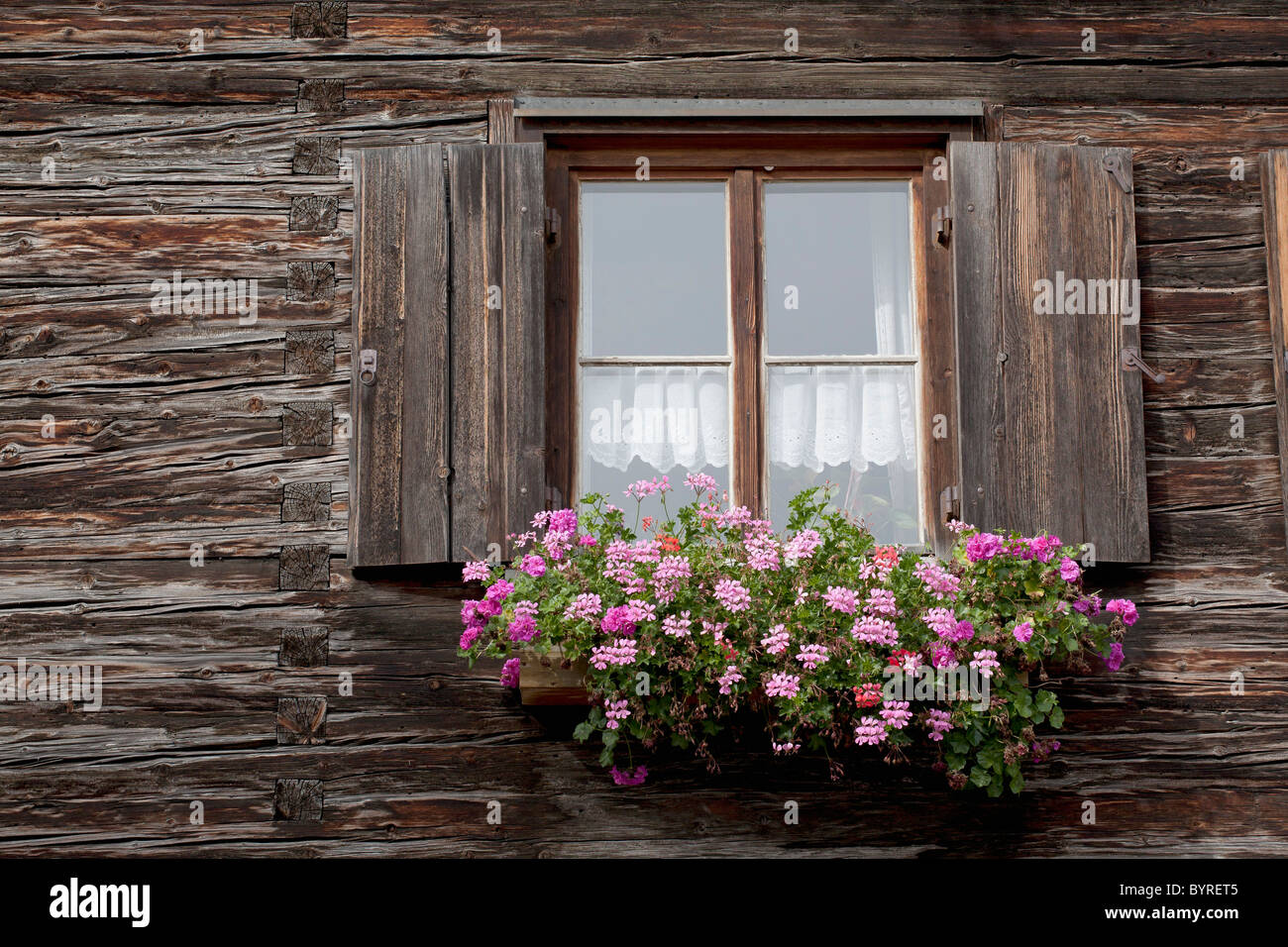 Old wooden log cabin with a flower box and wooden shutters around the stock photo royalty free for Log cabin window