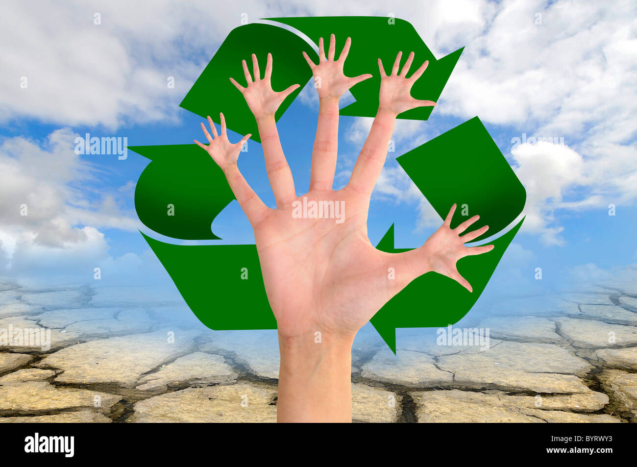 Hands planet earth tree symbol stock photos hands planet earth tree made of hands with recycle symbol over a dry soil stock image buycottarizona Choice Image
